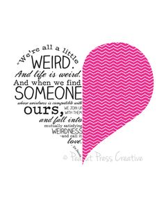 """Dr. Seuss """"We're all a little weird"""" - Hot Pink 8x10 Print. $17.00, via Etsy."""