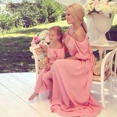 Off the Shoulder Flowy Maxi Mom and Me Dress in Pink