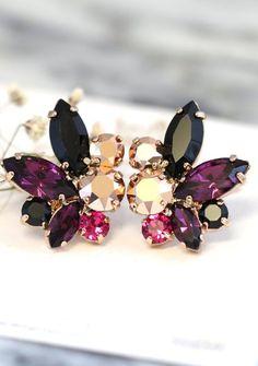 Purple Black Earrings Swarovski Purple Rose Gold Earrings Bride Cluster Earrings Bridesmaids Earrings Gift for Her Cocktail Earrings Gold Bridal Earrings, Black Earrings, Rose Gold Earrings, Bridesmaid Earrings, Wedding Earrings, Crystal Earrings, Wedding Jewelry, Stud Earrings, Diamond Earrings