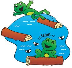"""Hop, hover, and waddle—oh my! Use this cute song to discuss vocabulary related to action at the pond.  (sung to the tune of """"Hickory, Dickory, Dock"""")  The pond is a great place to play. Which critters are out today? [There are some frogs] [Hopping on logs]. The pond is a great place to play!  Continue with the following: Raccoons wash their paws, And stretch out their claws; Fireflies are bright, Lighting the night; Dragonflies hover, Looking for cover; Some flies buzz by—The frog does sigh…"""