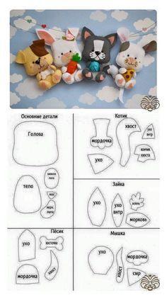 64 moldes de bichinhos em feltro - Feltro e moldes para artesanato