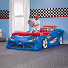 Step2 Hot Wheels Toddler-To-Twin Race Car Bed, Blue - Walmart.com