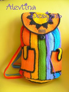 Crochet Rainbow stripy Crazy fun Backpack by AlevtinaDesigns