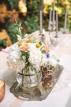 Whimsical Florals with vintage silver tray