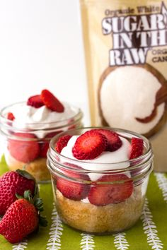 These Mini Strawberry Shortcakes made with Sugar In The Raw Organic White® add a sweet spin on the classic strawberry shortcake dessert. Use all the same delicious ingredients including fresh strawberries and a homemade whipped cream and bake inside a mini mason jar, so they are already pre-portioned.  If you're in for a tasty treat for this spring or summer, grab a spoon and dig in!