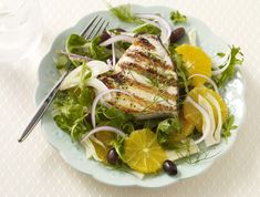 Gluten free grilled swordfish with orange fennel salad is the perfect summer dish and so easy to prepare! We used San-J gluten free orange sauce and ...