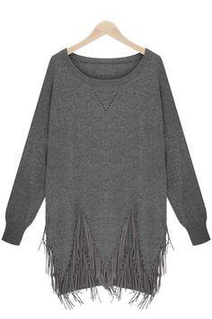 Grey Long Sleeve Tassel Loose Sweater