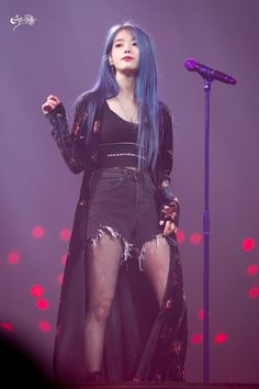 Am in love with her blue hair 😍 on We Heart It Kpop Fashion, Korean Fashion, Fashion Outfits, Stage Outfits, Kpop Outfits, Korean Girl, Asian Girl, Pelo Color Azul, Iu Twitter