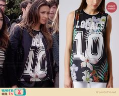 "Emily's floral ""10″ tee on Pretty Little Liars. Outfit Details: http://wornontv.net/34583/ #PLL"