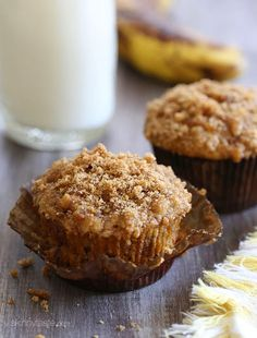 These whole wheat banana muffins are moist and light with a delicious crumb topping!