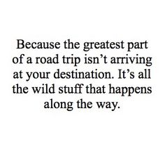 Because the greatest part of a road trip isn't arriving at your destination.  It's all the wild stuff that happens along the way.