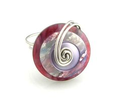 Button Ring Wire Wrapped Layered Berry Colors by TrinketsNWhatnots