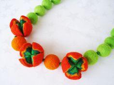 Felt necklace handmade by NadyaFelt on Etsy, $22.00