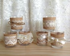 6 ivory burlap and lace covered Votive tea candles, bridal shower decor, wedding decoration, home decor or gift