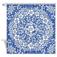 blue hawaiian circle pattern shower curtain for