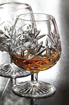 Waterford Huntley Brandy Pair - had something similar once bought by my parents - they have been stolen unfortunately by a woman I once loved. Crystal Glassware, Waterford Crystal, Cocktail Glassware, Cut Glass, Glass Art, Fresh Farmhouse, Gentlemans Club, Crystal Meanings, Wine Glass