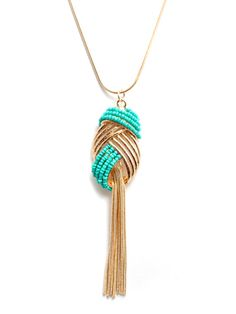 Necklaces Necklaces Necklaces! Turquoise Beaded Tassle Knot Necklace with Gold Plating    Code: SNE42  Price: $45.00