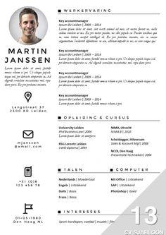 Opvallend CV met een professionele uitstraling. Inclusief bijpassend brief sjabloon. Eenvoudig zelf te bewerken in Word. Nu te bestellen en direct te downloaden op onze site: http://deleydsche.nl/product/cv-sjabloon-13