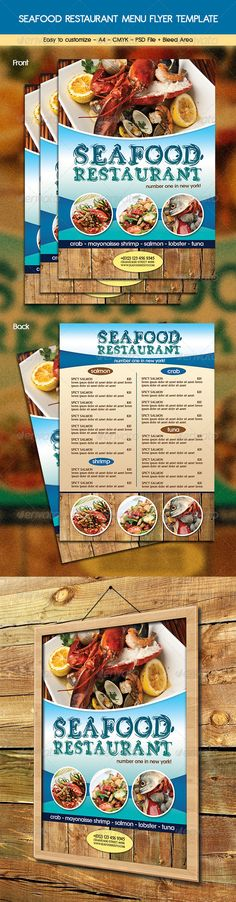 Seafood Restaurant Menu Flyer Template #design Download: http://graphicriver.net/item/seafood-restaurant-menu-flyer/6415993?ref=ksioks