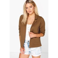 Boohoo Abigail Rib Blazer ($26) ❤ liked on Polyvore featuring outerwear, jackets, blazers, khaki, brown jacket, brown blazer, ribbed jacket, brown bomber jacket and longline blazer