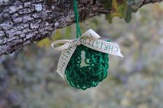 Finger knit wreath ornament