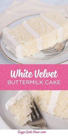 White Velvet Cakes, Best Cake Recipes, White Cake Recipes, Cake Recipes From Scratch, Homemade Cake Recipes, Cake For Two Recipe, Pie Recipes, Half And Half Cake Recipe, Simple Cake Recipe No Butter