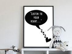 Listen To Your Heart | » Zwart Wit | Postersinhuis.nl