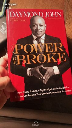 The Power of Broke by Daymond John. How empty pockets, a tight budget and a hunger for success can become your greatest competitive advantage. Good Books, Books To Read, My Books, Reading Lists, Book Lists, Books A Million, Reading Rainbow, Thriller Books, Inspirational Books