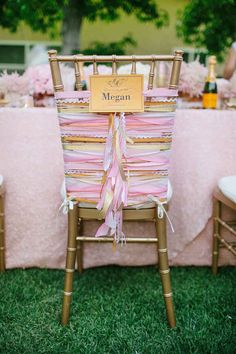 For a smaller wedding, dress up your guests' chairs with this chabby-chic ribbon tutorial :