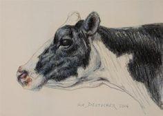 """""""Holstein Dairy Cow"""" - Original Fine Art for Sale - ©Sue Deutscher"""