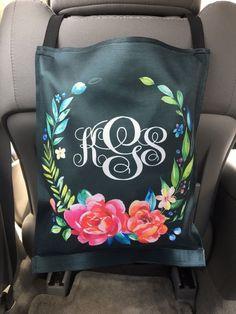 172f38b3c1a7f Classy Black Floral Monogrammed Car Trash Bag Car Organizer Custom Car  Trash Can Floral Classy Black Personalized Car Accessories Car Decor