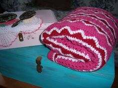 Hand Crochet Blanket throw54x 68 pinkburgundy by Traincasesandmore, $20.00