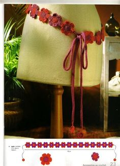 Patrones Crochet: Cinturon de Crochet Florecillas Rojas
