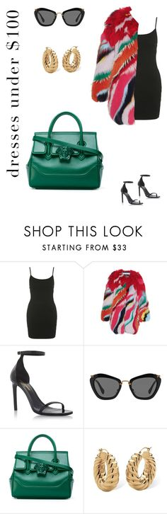 """""""Dresses under $100"""" by persephoniemay ❤ liked on Polyvore featuring Topshop, Roberto Cavalli, Yves Saint Laurent, Miu Miu, Versace and Palm Beach Jewelry"""