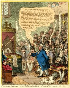 """""""Political Candour; - i.e. - Coalition 'Resolutions' of June 14th 1805"""" by James Gillray. Charles James Fox makes a speech in the House of Commons; the Opposition benches are packed, while Pitt, on the extreme left, sits alone on the Treasury Bench. This is a very interesting print - see the British Museum page for an explanation of the political background."""