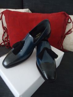 handmade blue-black premium calf leather patina tassel loafers by konstantinos S/S15 collection