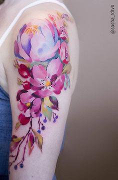 Sasha Marsh watercolor flower tattoo