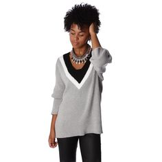 Miss Preppy Gray textured knitted sweater with contrast detail