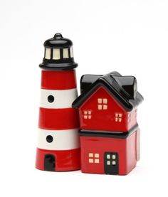 RED LIGHTHOUSE BEAM MAGNETIC SALT PEPPER SHAKERS CUTE | eBay