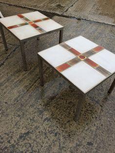 MODERN TILE TOP SIDE TABLE BELGIUM VINTAGE