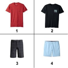 Mix/match: Which shorts for T-Shirt 1? ...and for T-Shirt 2? Buy using the product link or visit wantrobe for more ideas _ #flatlay #outfitpost #menswear #stylegrid #outfitgrid #tees #teeshirt #gq #gqmen #bloggerstyle #wiw #wiwt #whatiwore #ootd #simplelook #stylist #mensblogger