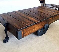 DIY Factory Cart Coffee Table LOVE THIS!!