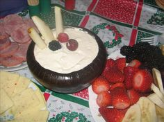 Easy Cheesy Fruit Dip Recipe - (Use low fat or FF Sour cream, , cream cheese etc)