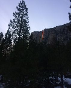Got lucky today and saw the firefall after hiking the upper Yosemite falls trail. Yosemite National Park, National Parks, Yosemite Falls, Natural Scenery, Mountain Man, Never Stop Exploring, Optical Illusions, Natural Wonders, Wilderness