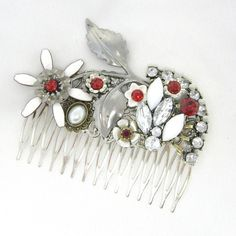 Stor unika hårkam i sølv, rød og krystal - Cloudcake unika hårpynt - Cloudcake
