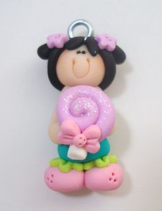 *POLYMER CLAY ~ Black Hair Girl with Lavener Lollipop Polymer Clay Charm Bead Scrapbooking Embelishment Bow Center Pendant Cupcake Topper.