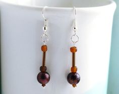 Chocolate brown bead drop earrings with seed beads and bugle beads by FfigysDesigns, £4.25