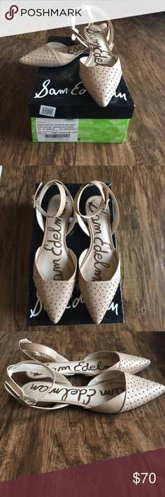 Sam Edleman Brina Flat Classic leather nude flat with a twist! Ankle strap and studded toe. Pre-worn but in great shape! Includes box! Sam Edelman Shoes Flats & Loafers