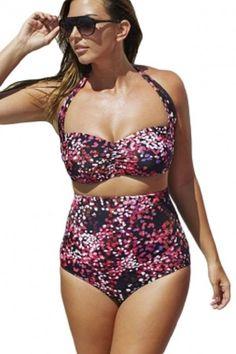 95e2ab48a32 Galaxy Print Ruched Top High Waist Plus Size Swimsuit 3X, 4X #Unbranded # Bikini