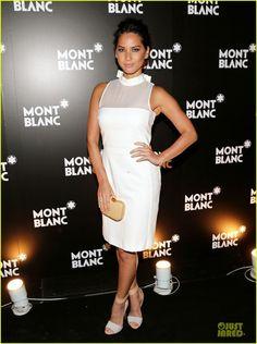 Olivia Munn wearing Fendi Giano Clutch, Montblanc Madison Avenue Opening October 22 2013